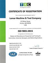 Lomar ISO 9001 Certification
